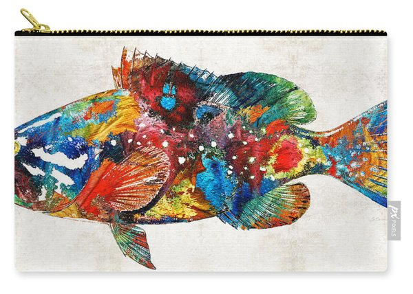 Colorful Grouper Art Fish By Sharon Cummings Carry-all Pouch