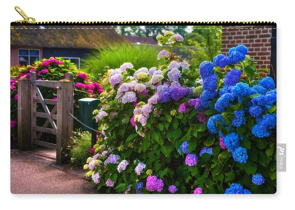 Colorful Hydrangea At The Gate. Giethoorn. Netherlands Carry-all Pouch