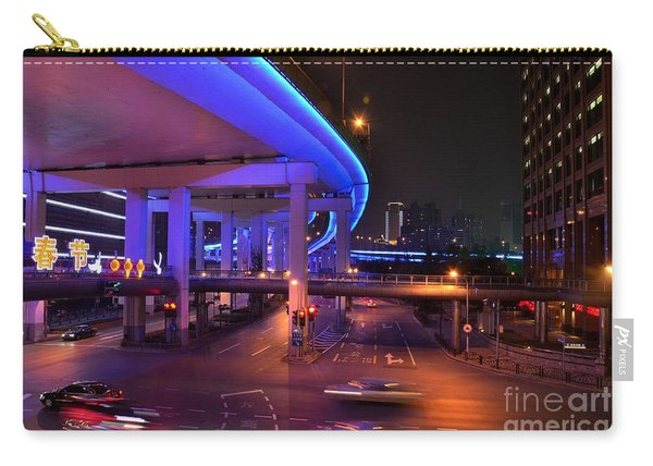 Colorful Night Traffic Scene In Shanghai China Carry-all Pouch