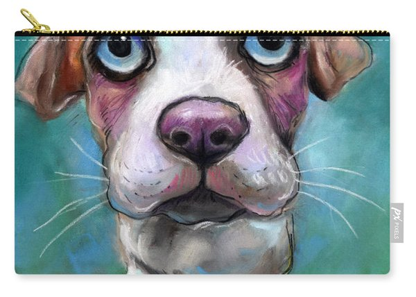 Colorful Pit Bull Puppy With Blue Eyes Painting  Carry-all Pouch