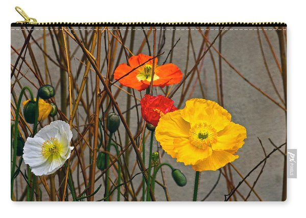 Colorful Poppies And White Willow Stems Carry-all Pouch