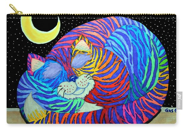 Colorful Striped Cat In The Moonlight Carry-all Pouch