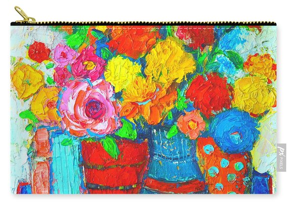 Colorful Vases And Flowers - Abstract Expressionist Painting Carry-all Pouch