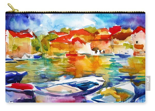 Colorful Watercolor Boats European Water Scape Carry-all Pouch