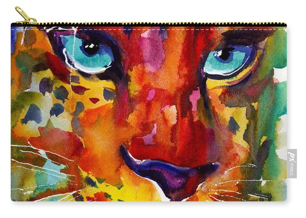 Colorful Watercolor Leopard Painting Carry-all Pouch