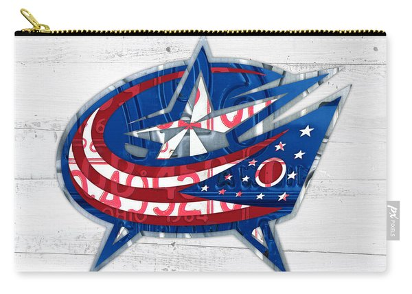 Columbus Bluejackets Retro Hockey Team Logo Recycled Ohio License Plate Art Carry-all Pouch