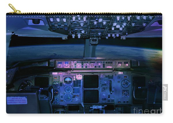 Commercial Airplane Cockpit By Night Carry-all Pouch