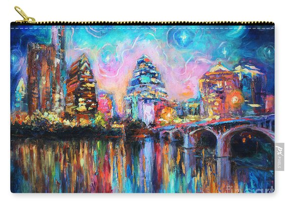 Contemporary Downtown Austin Art Painting Night Skyline Cityscape Painting Texas Carry-all Pouch