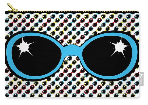 Cool Retro Blue Sunglasses Carry-all Pouch