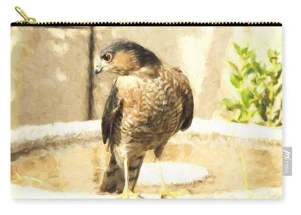 Cooper's Hawk At The Birdbath Carry-all Pouch