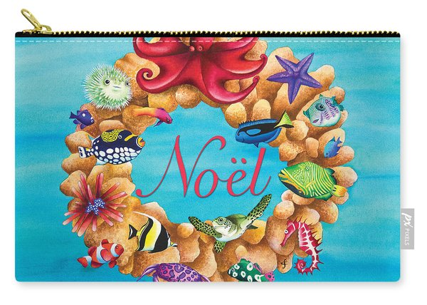 Coral Wreath Noel Carry-all Pouch