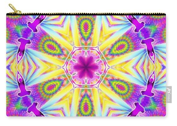 Carry-all Pouch featuring the digital art Cosmic Spiral Kaleidoscope 06 by Derek Gedney