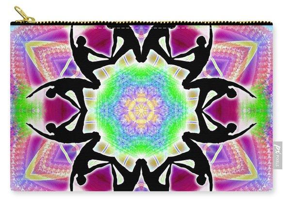 Carry-all Pouch featuring the digital art Cosmic Spiral Kaleidoscope 08 by Derek Gedney