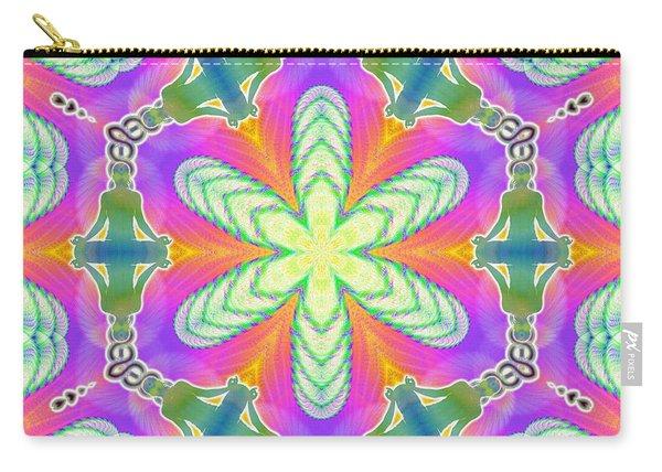 Carry-all Pouch featuring the digital art Cosmic Spiral Kaleidoscope 18 by Derek Gedney