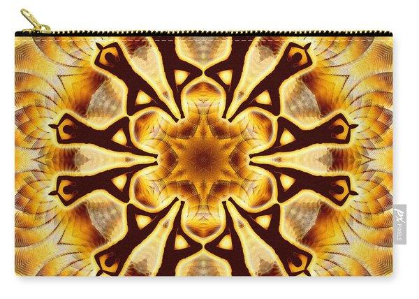 Carry-all Pouch featuring the digital art Cosmic Spiral Kaleidoscope 20 by Derek Gedney