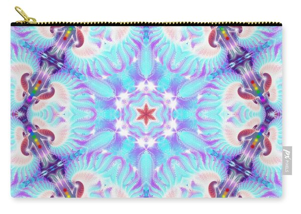 Carry-all Pouch featuring the digital art Cosmic Spiral Kaleidoscope 32 by Derek Gedney