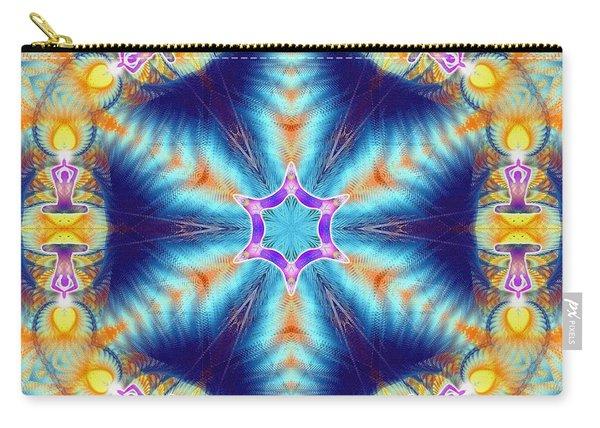 Carry-all Pouch featuring the digital art Cosmic Spiral Kaleidoscope 36 by Derek Gedney