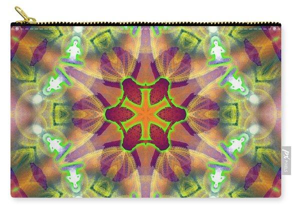 Carry-all Pouch featuring the digital art Cosmic Spiral Kaleidoscope 42 by Derek Gedney