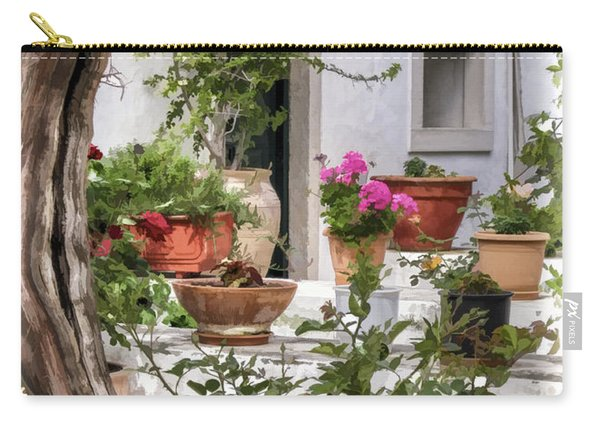 Carry-all Pouch featuring the photograph Painted Effect - Courtyard by Susan Leonard