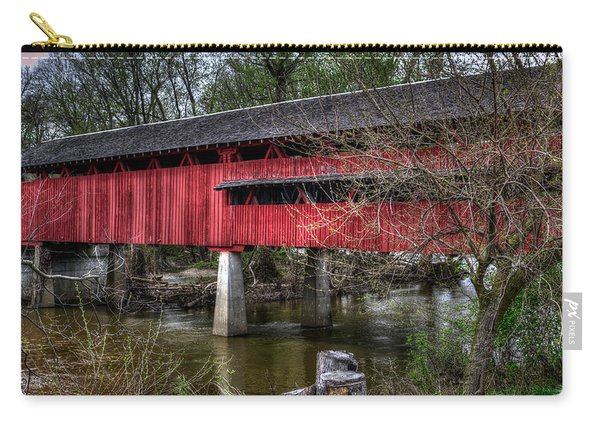 Carry-all Pouch featuring the photograph Covered Bridge by Michael Colgate
