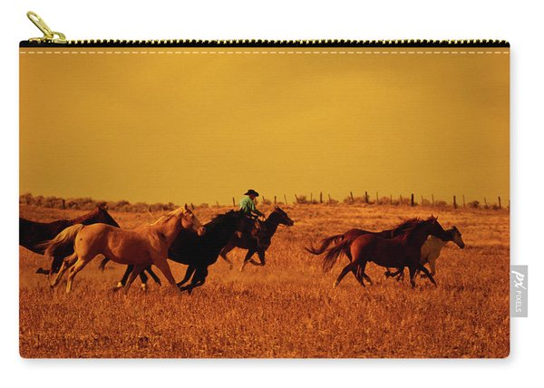 Cowboy Herding Running Horses, Oregon Carry-all Pouch