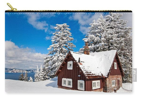 Crater Lake Home - Crater Lake Covered In Snow In The Winter. Carry-all Pouch