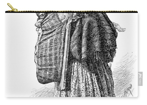 Cree Indian Squaw And Papoose Carry-all Pouch