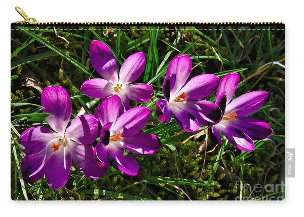 Crocus In The Grass Carry-all Pouch