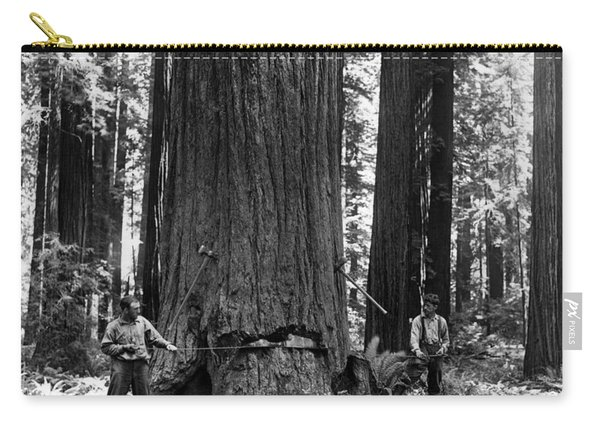Crosscutting A Redwood C. 1900 Carry-all Pouch