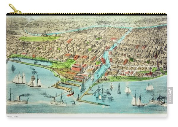 Currier & Ives Illustration Of Chicago Carry-all Pouch