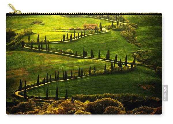 Carry-all Pouch featuring the photograph Cypresses Alley by Jaroslaw Blaminsky