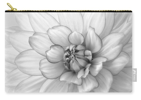 Dahlia Flower Black And White Carry-all Pouch