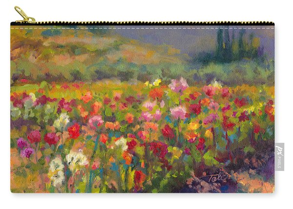 Carry-all Pouch featuring the painting Dahlia Row by Talya Johnson
