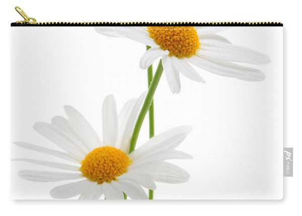 Daisies On White Background Carry-all Pouch
