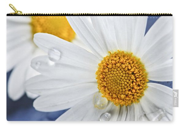 Daisy Flowers With Water Drops Carry-all Pouch