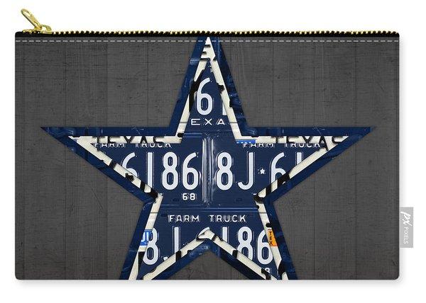 Dallas Cowboys Football Team Retro Logo Texas License Plate Art Carry-all Pouch