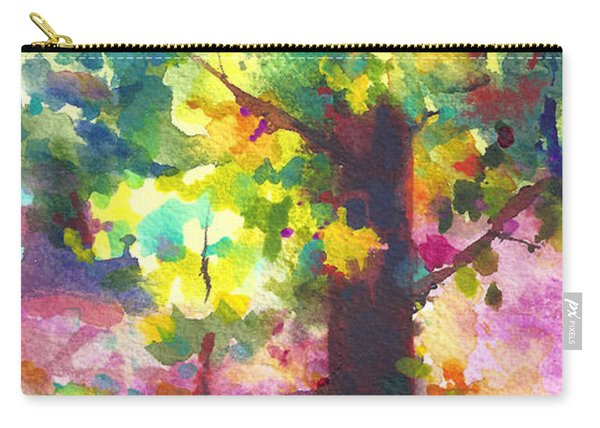Carry-all Pouch featuring the painting Dappled - Light Through Tree Canopy by Talya Johnson