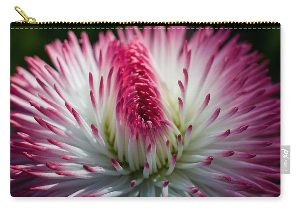 Dark Pink And White Spiky Petals Carry-all Pouch