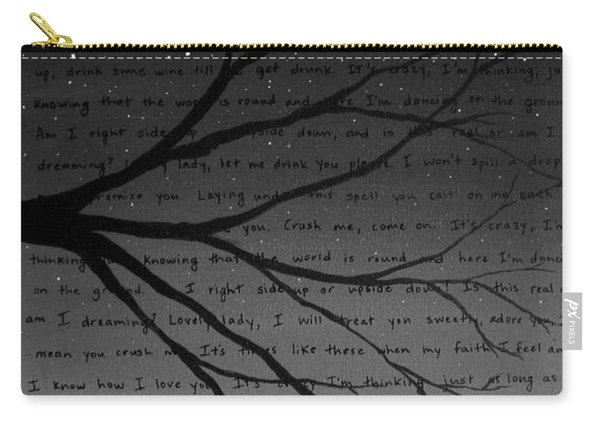 Dave Matthews Band Crush Lyric Art - Black And White Carry-all Pouch