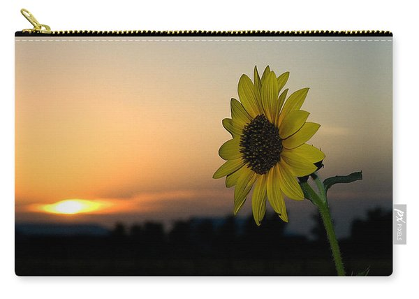 Carry-all Pouch featuring the photograph Sunflower And Sunset by Mae Wertz