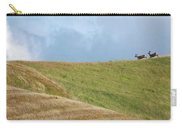 Carry-all Pouch featuring the photograph Deer Taking Flight by Mary Lee Dereske