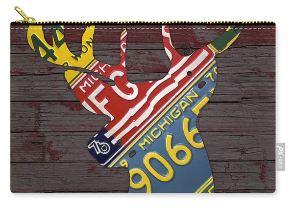 Deer With Antlers Michigan Recycled License Plate Art Carry-all Pouch