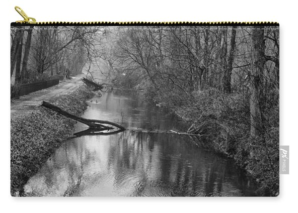 Delaware Canal In Black And White Carry-all Pouch