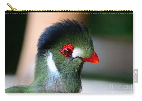 Delicate Green Turaco Bird With Red Beak White Patches And Black Crown Carry-all Pouch