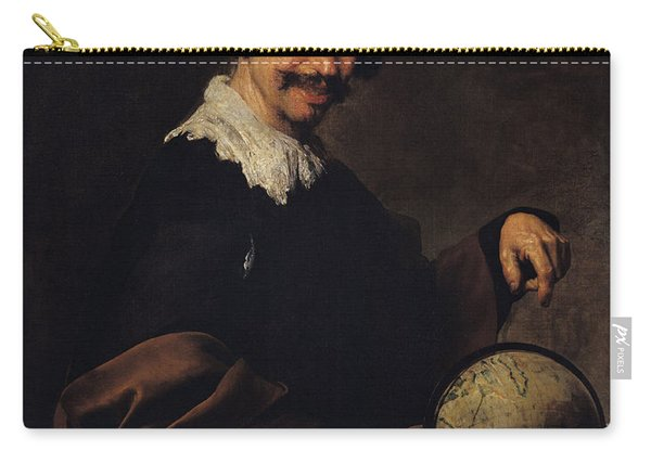 Democritus, Or The Man With A Globe Oil On Canvas Carry-all Pouch