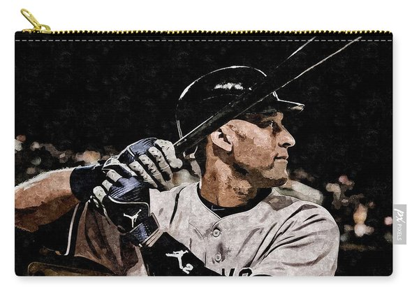 Derek Jeter On Canvas Carry-all Pouch