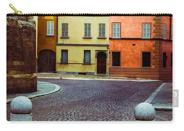 Deserted Street With Colored Houses In Parma Italy Carry-all Pouch
