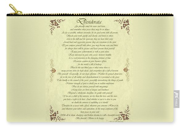 Desiderata Gold Bond Scrolled Carry-all Pouch