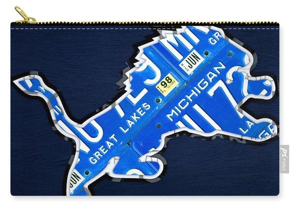Detroit Lions Football Team Retro Logo License Plate Art Carry-all Pouch