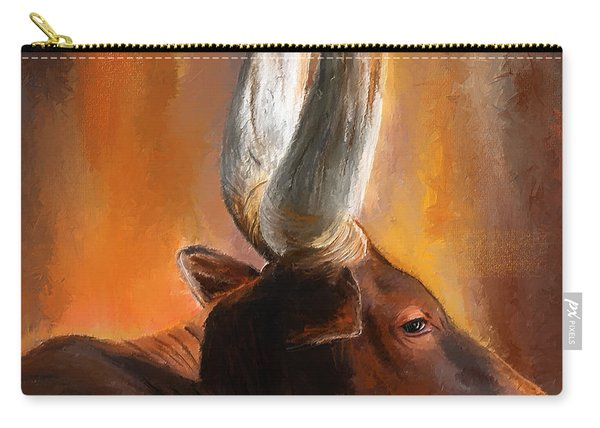 Dignified Pose- Texas Longhorn Paintings Carry-all Pouch